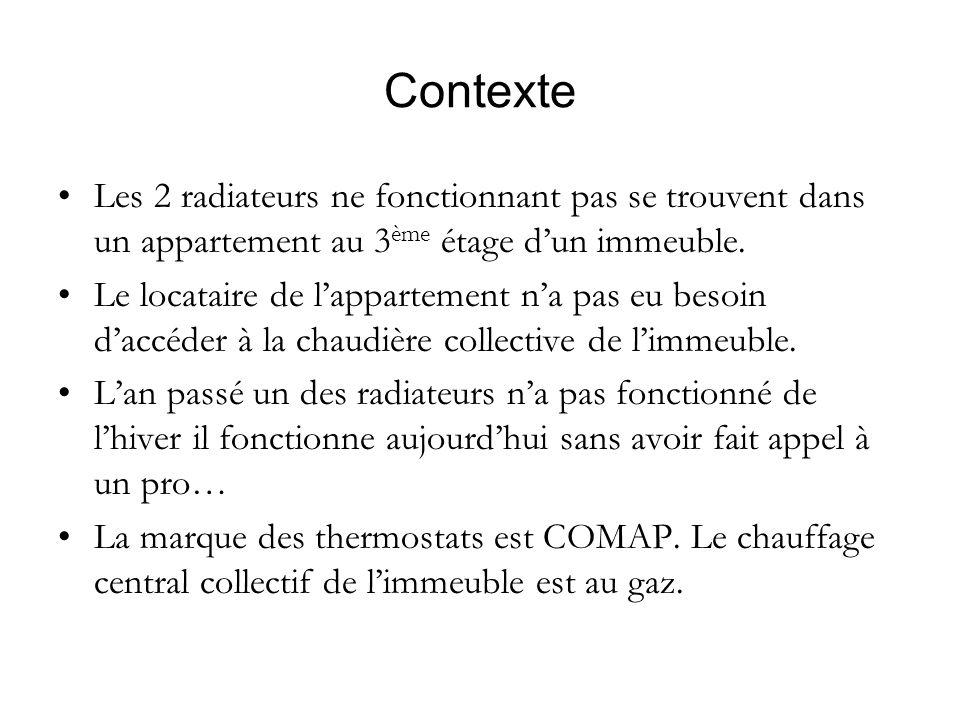 Contexte Les 2 radiateurs ne fonctionnant pas se trouvent dans un appartement au 3ème étage d'un immeuble.