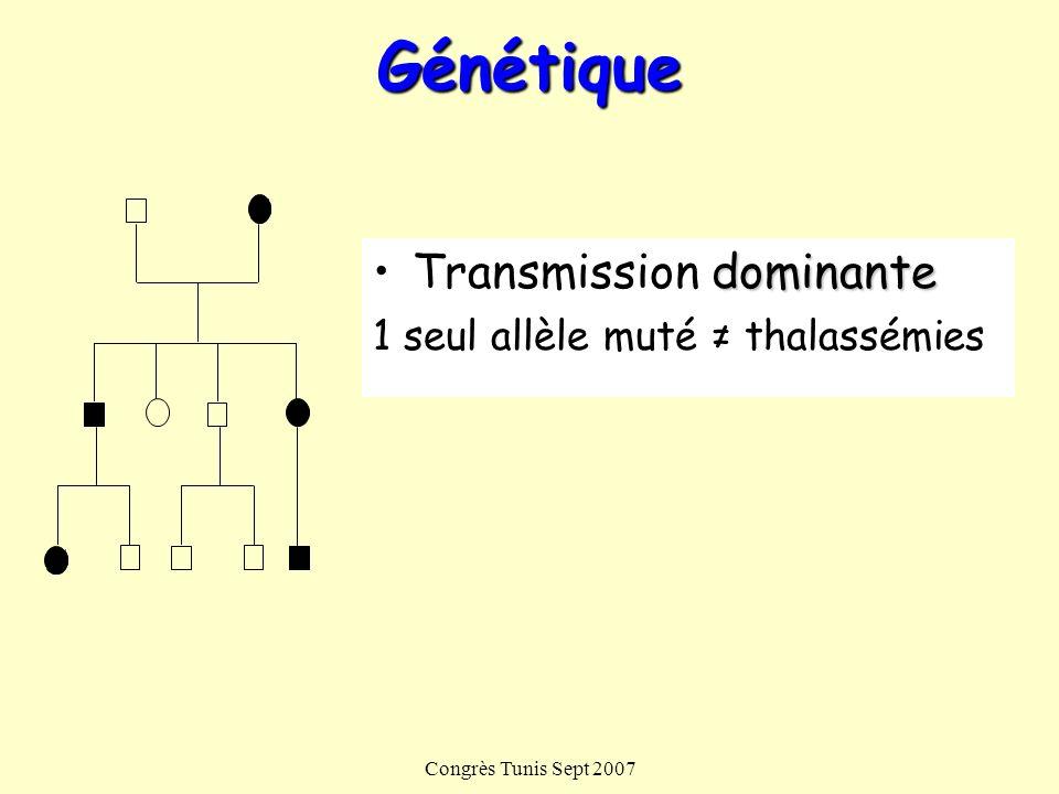 Génétique Transmission dominante 1 seul allèle muté ≠ thalassémies