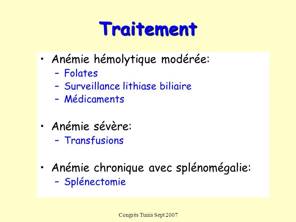 Traitement Anémie hémolytique modérée: Anémie sévère: