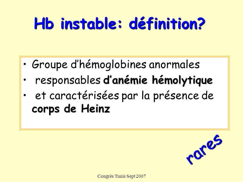 Hb instable: définition