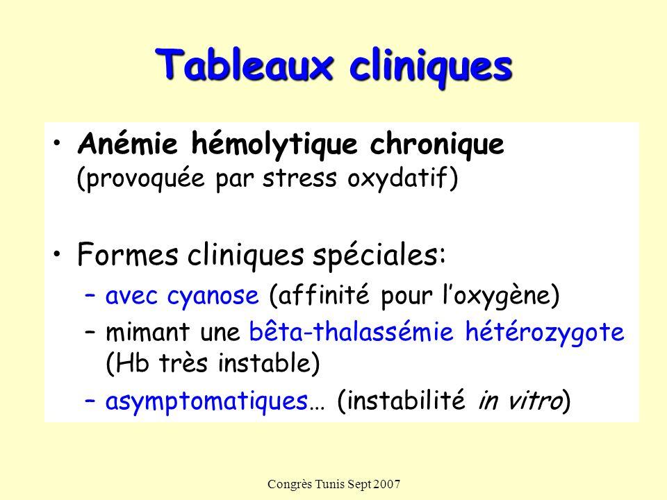 Tableaux cliniques Anémie hémolytique chronique (provoquée par stress oxydatif) Formes cliniques spéciales: