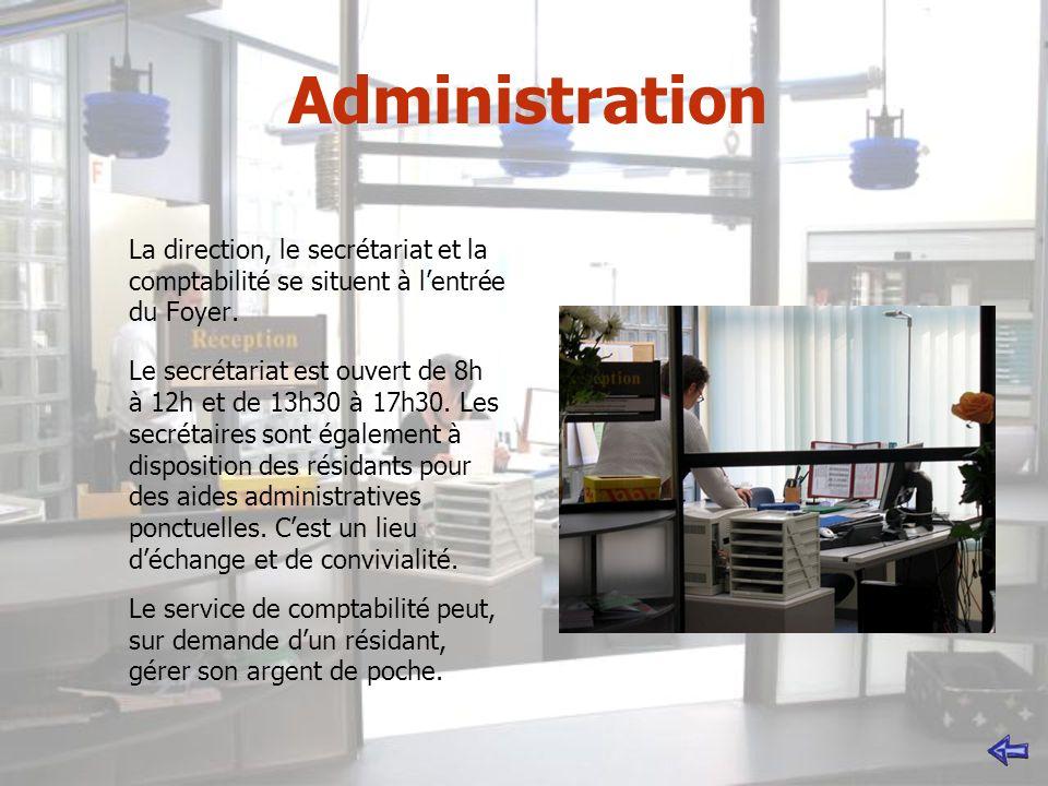 Administration La direction, le secrétariat et la comptabilité se situent à l'entrée du Foyer.
