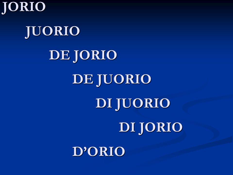 JORIO JUORIO DE JORIO DE JUORIO DI JUORIO DI JORIO D'ORIO
