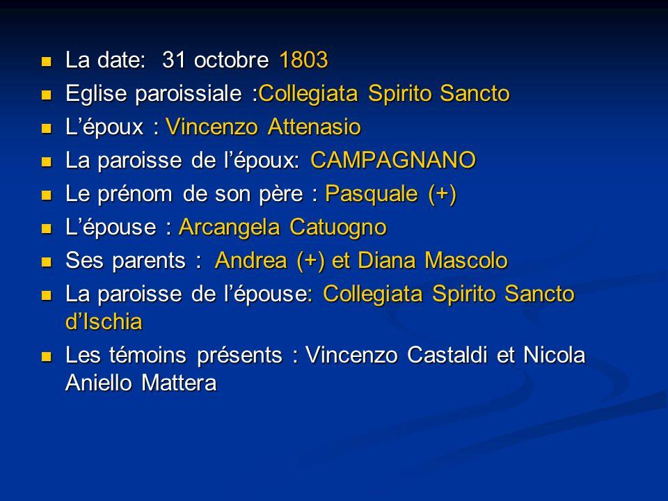 La date: 31 octobre 1803 Eglise paroissiale :Collegiata Spirito Sancto. L'époux : Vincenzo Attenasio.