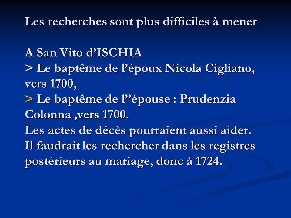Les recherches sont plus difficiles à mener A San Vito d'ISCHIA > Le baptême de l'époux Nicola Cigliano, vers 1700, > Le baptême de l''épouse : Prudenzia Colonna ,vers 1700. Les actes de décès pourraient aussi aider.