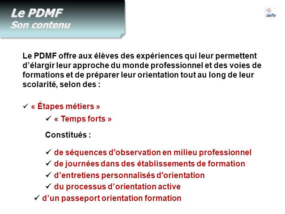 Le PDMF Son contenu  « Étapes métiers »  « Temps forts »