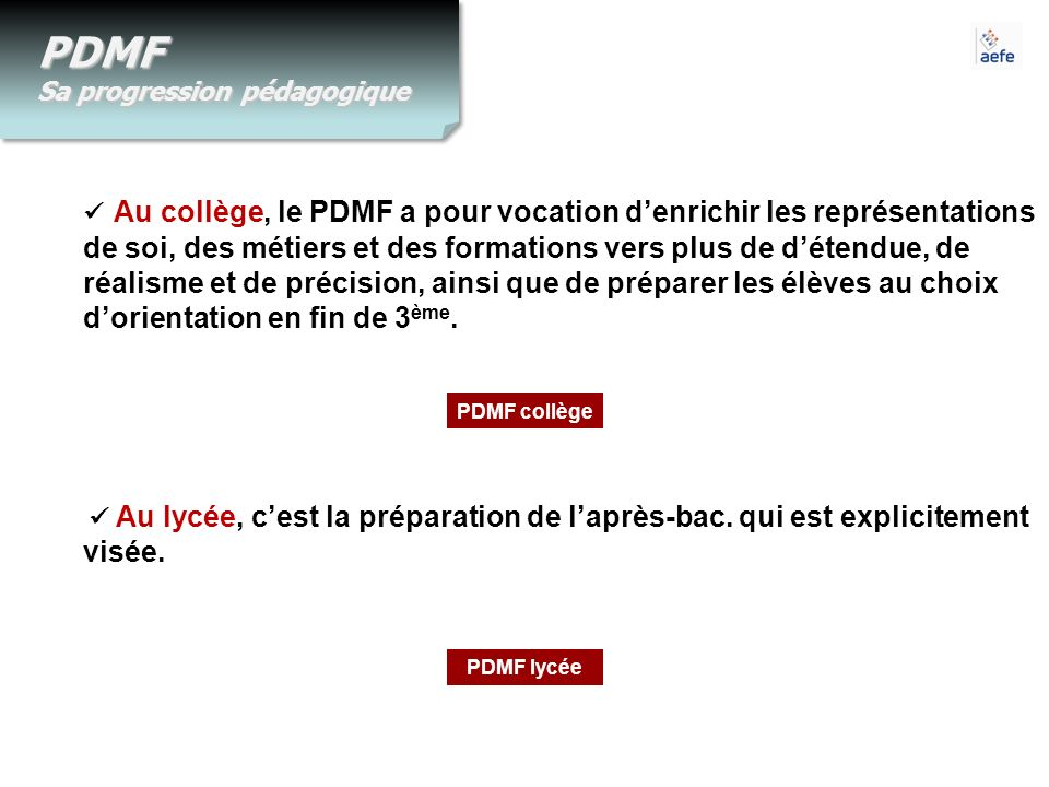 PDMF Sa progression pédagogique