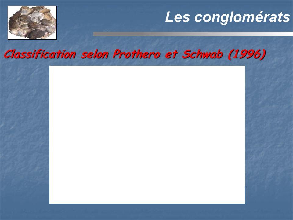 Les conglomérats Classification selon Prothero et Schwab (1996)