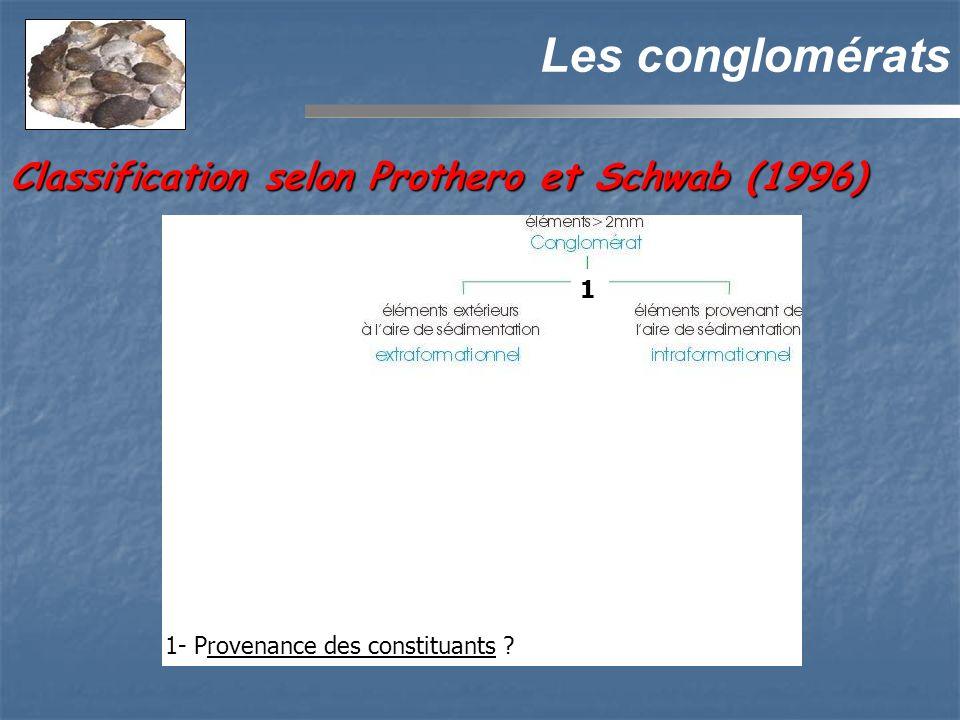 Les conglomérats Classification selon Prothero et Schwab (1996) 1