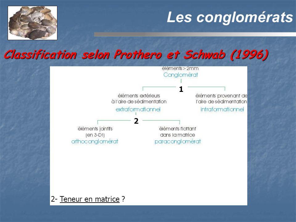 Les conglomérats Classification selon Prothero et Schwab (1996) 1 2