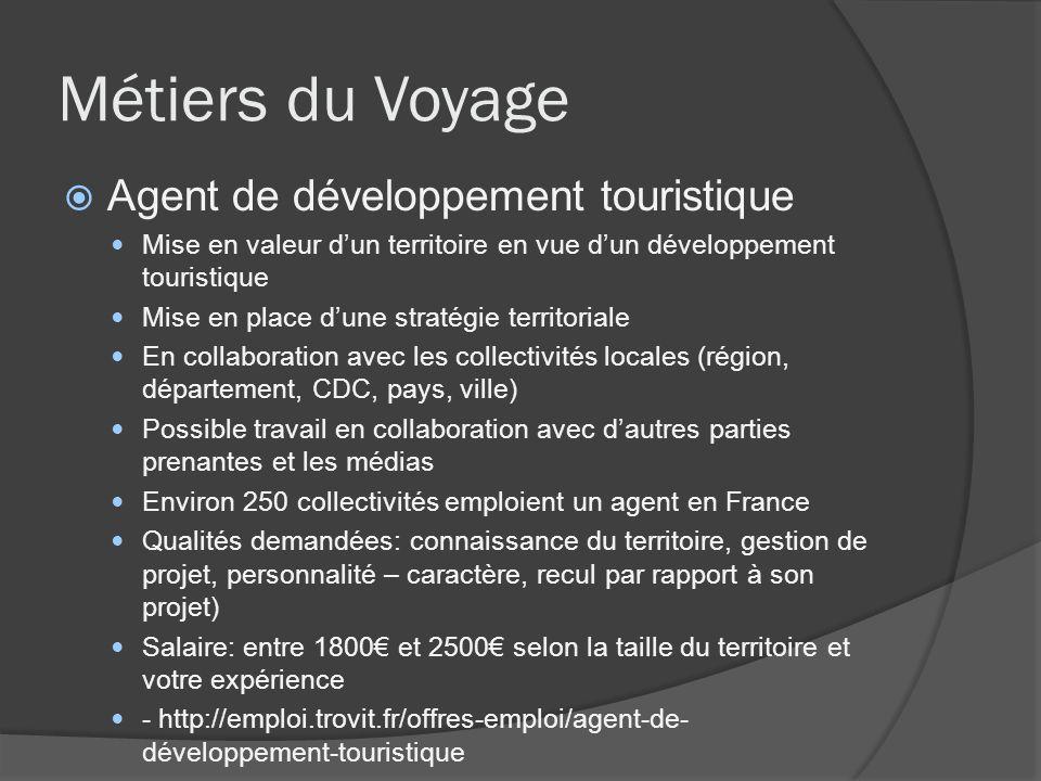 Métiers du Voyage Agent de développement touristique