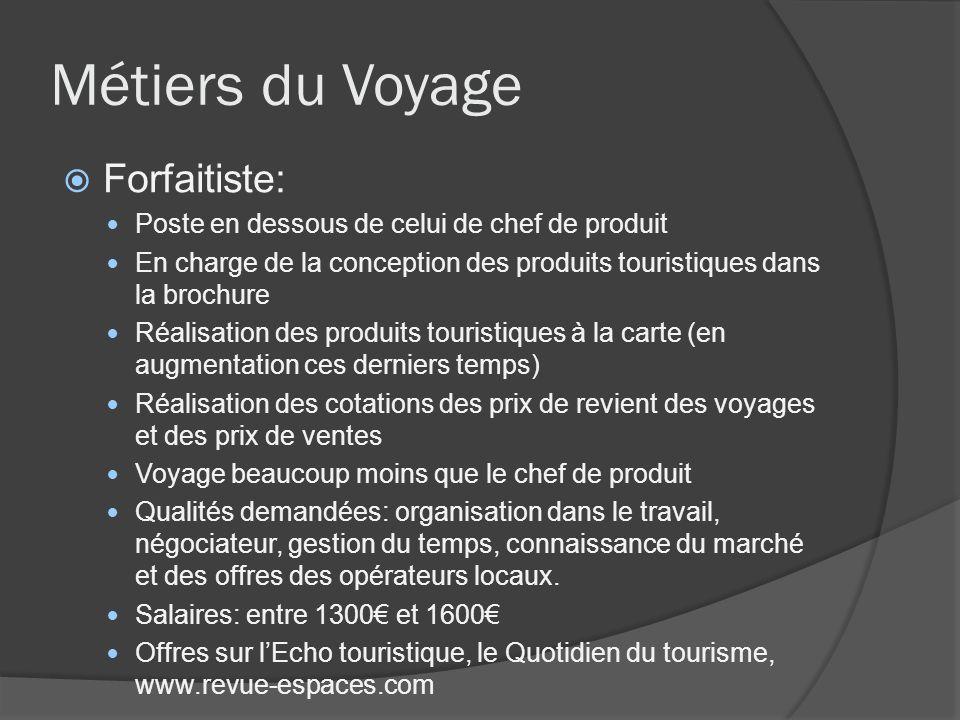 Métiers du Voyage Forfaitiste: