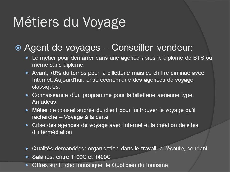 Métiers du Voyage Agent de voyages – Conseiller vendeur:
