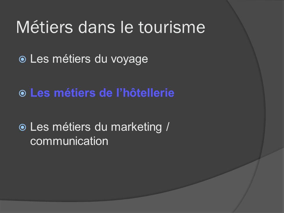 Métiers dans le tourisme