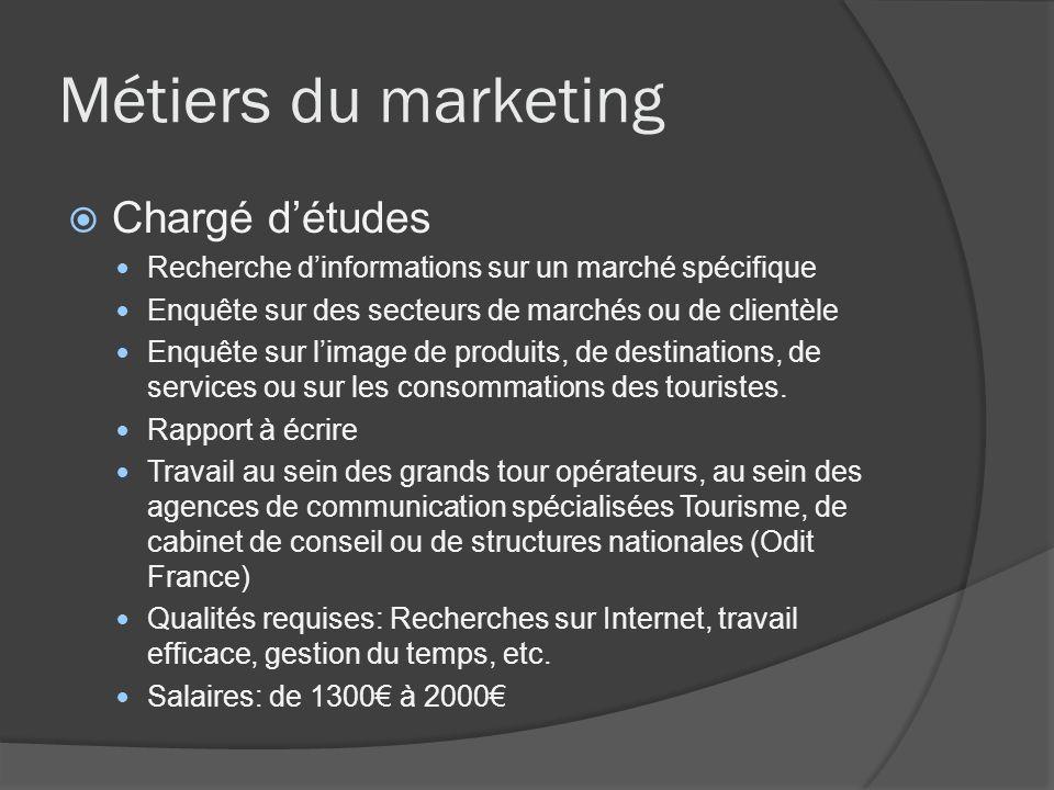 Métiers du marketing Chargé d'études