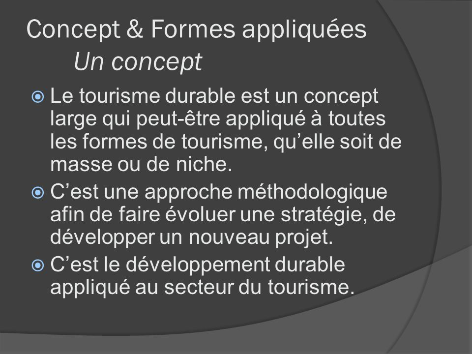 Concept & Formes appliquées Un concept