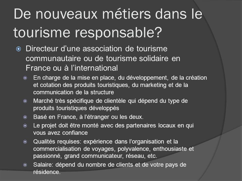 De nouveaux métiers dans le tourisme responsable