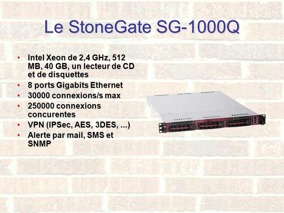 Le StoneGate SG-1000Q Intel Xeon de 2,4 GHz, 512 MB, 40 GB, un lecteur de CD et de disquettes. 8 ports Gigabits Ethernet.