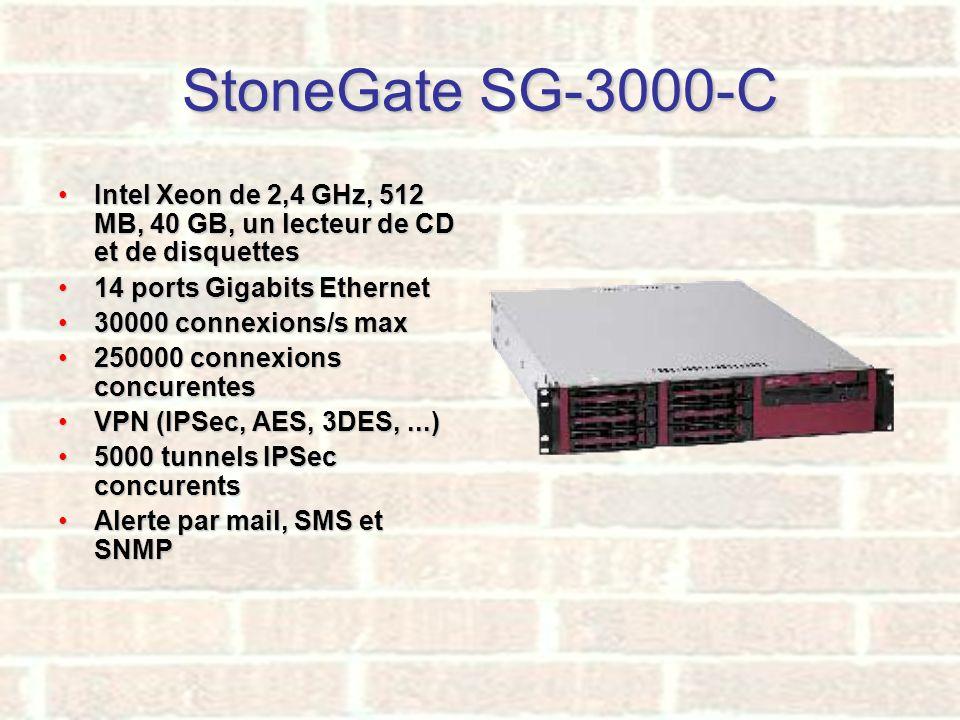 StoneGate SG-3000-C Intel Xeon de 2,4 GHz, 512 MB, 40 GB, un lecteur de CD et de disquettes. 14 ports Gigabits Ethernet.