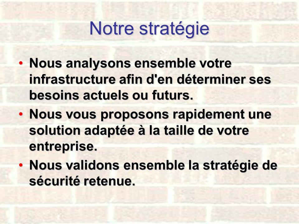 Notre stratégie Nous analysons ensemble votre infrastructure afin d en déterminer ses besoins actuels ou futurs.