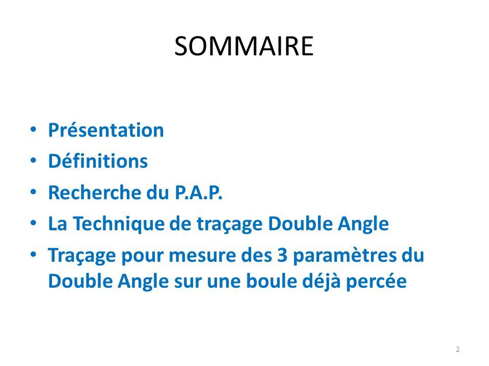 SOMMAIRE Présentation Définitions Recherche du P.A.P.