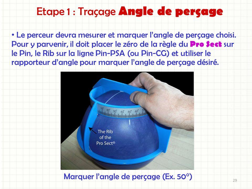 Etape 1 : Traçage Angle de perçage