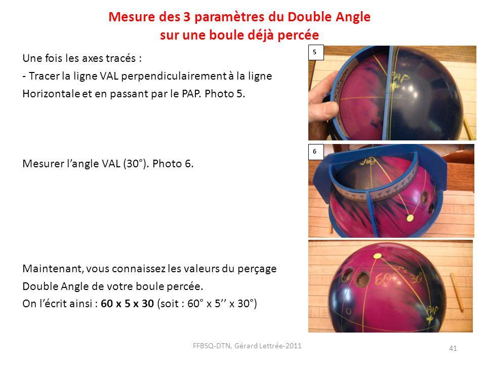 Mesure des 3 paramètres du Double Angle sur une boule déjà percée