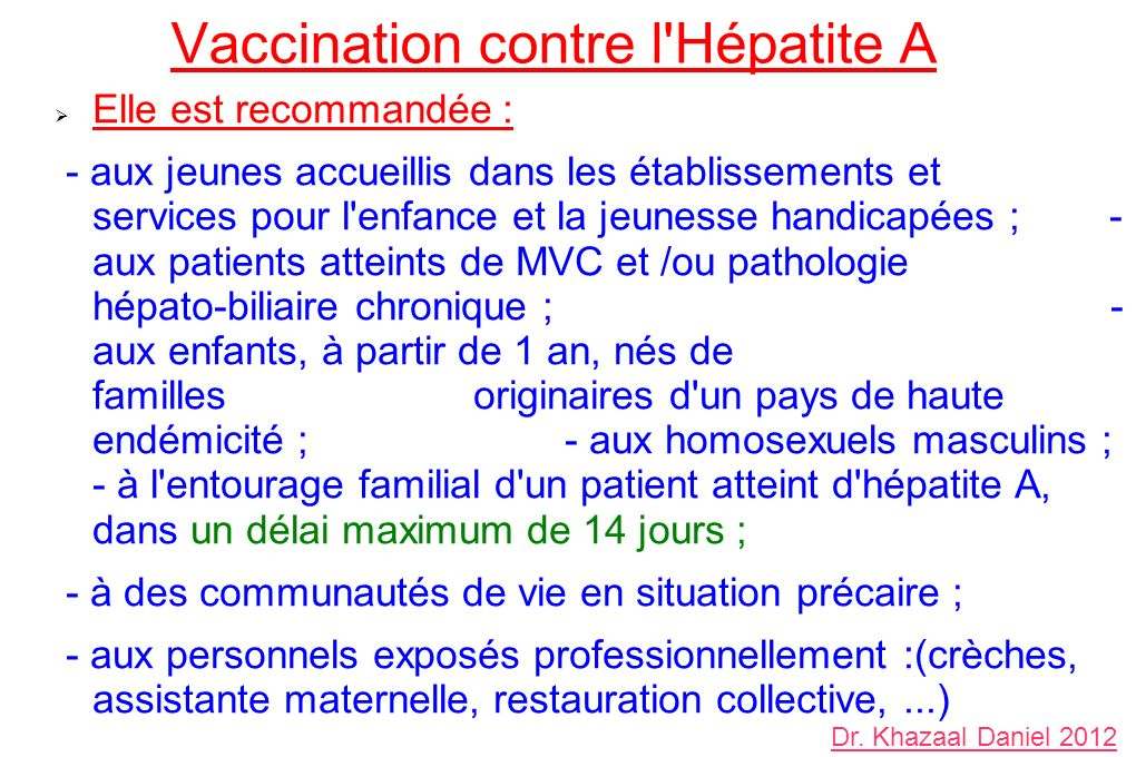 Vaccination contre l Hépatite A