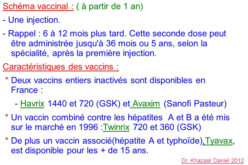 Schéma vaccinal : ( à partir de 1 an) - Une injection.