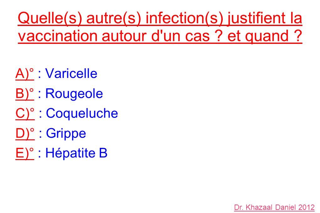 Quelle(s) autre(s) infection(s) justifient la vaccination autour d un cas et quand