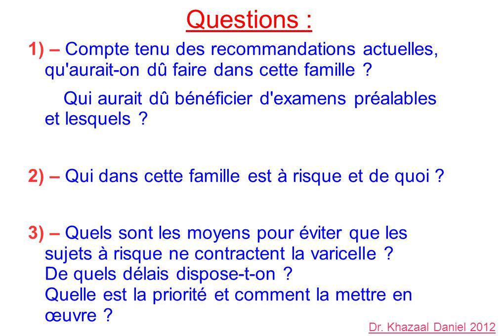 Questions : 1) – Compte tenu des recommandations actuelles, qu aurait-on dû faire dans cette famille