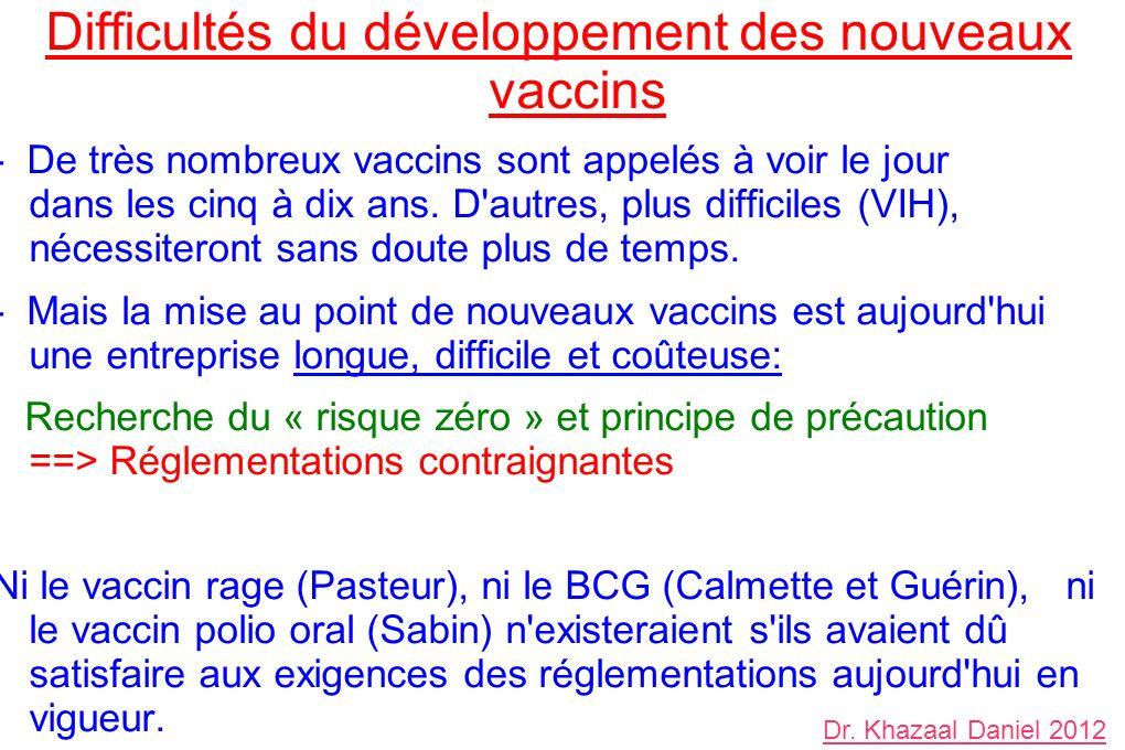 Difficultés du développement des nouveaux vaccins