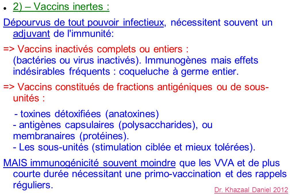 2) – Vaccins inertes : Dépourvus de tout pouvoir infectieux, nécessitent souvent un adjuvant de l immunité: