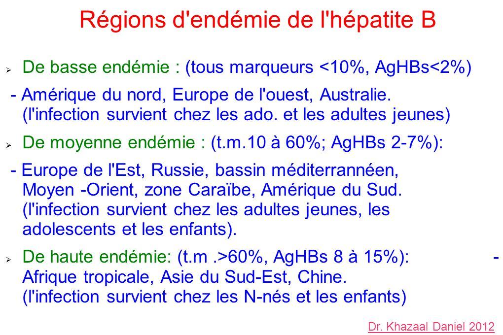 Régions d endémie de l hépatite B