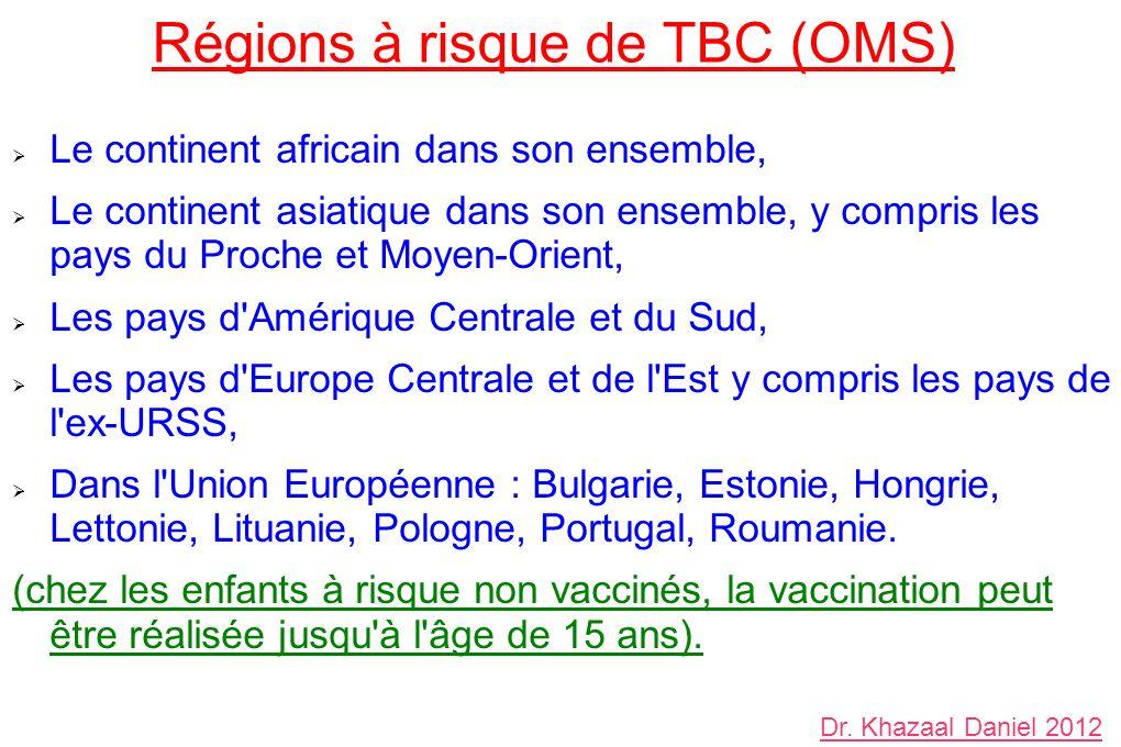 Régions à risque de TBC (OMS)