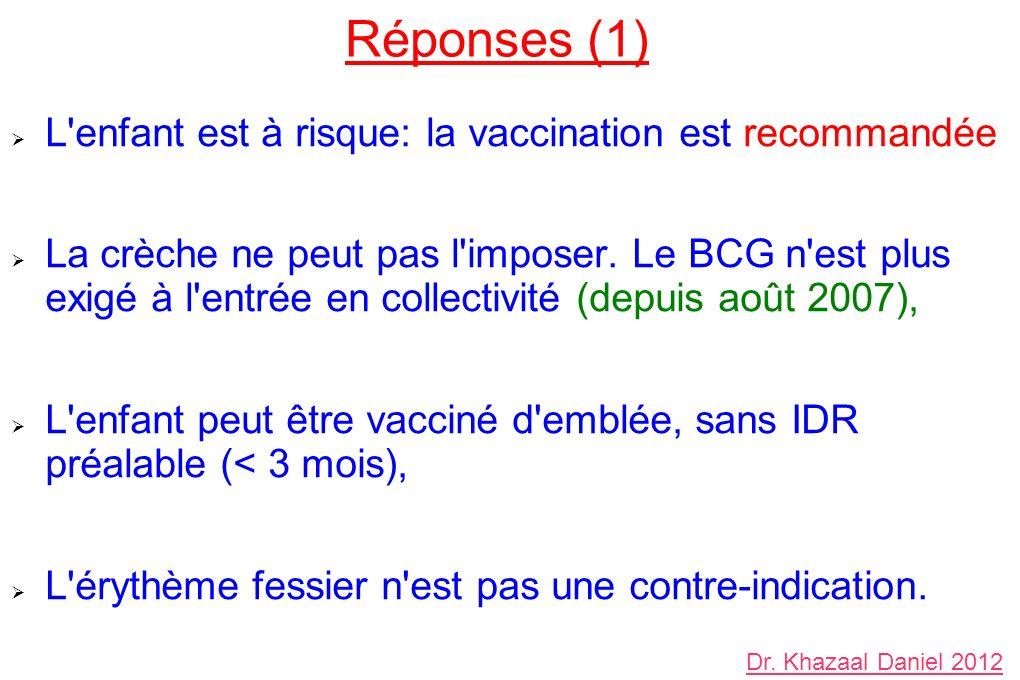 Réponses (1) L enfant est à risque: la vaccination est recommandée