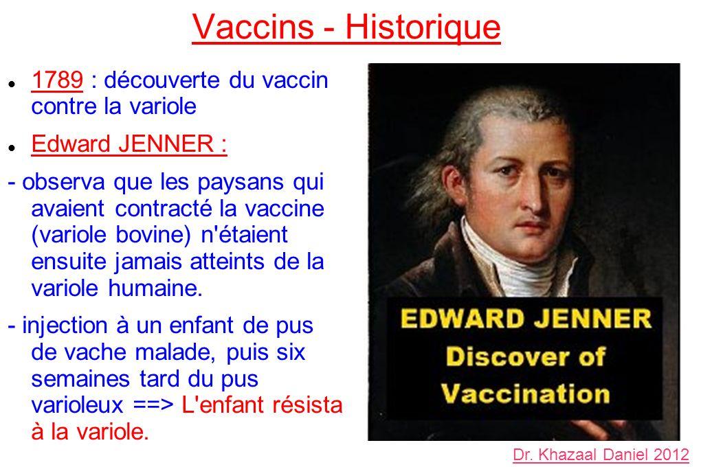Vaccins - Historique 1789 : découverte du vaccin contre la variole