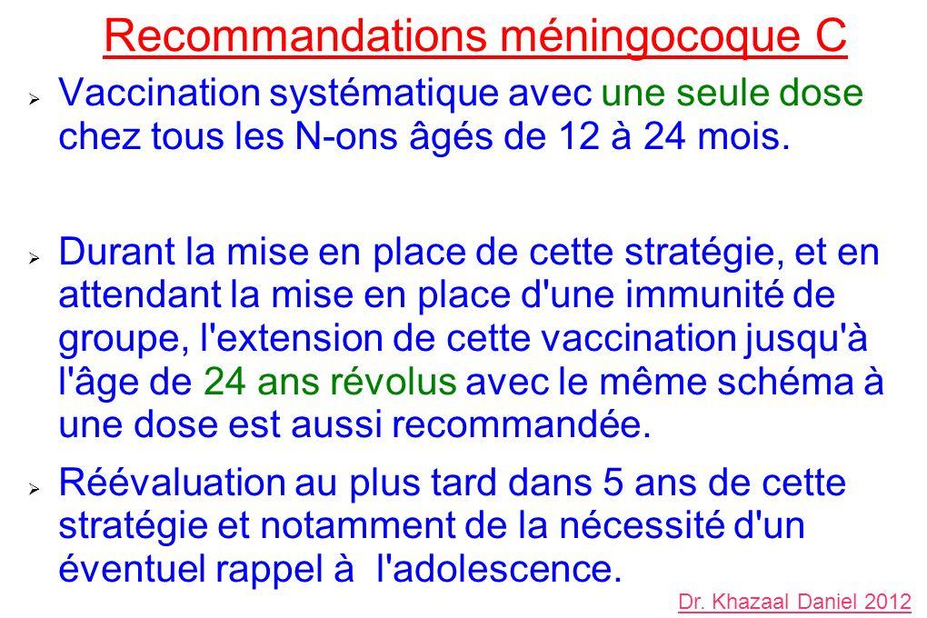 Recommandations méningocoque C