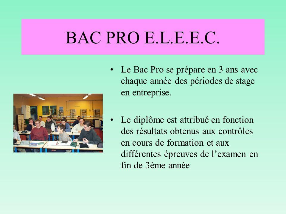 BAC PRO E.L.E.E.C. Le Bac Pro se prépare en 3 ans avec chaque année des périodes de stage en entreprise.