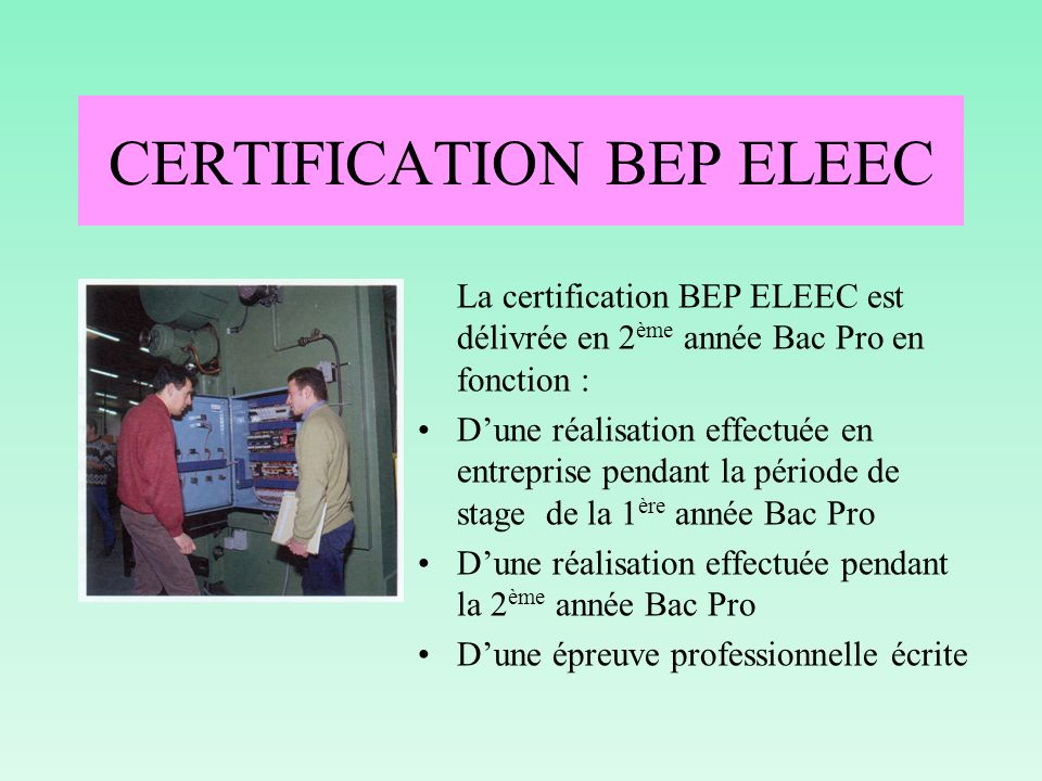 CERTIFICATION BEP ELEEC