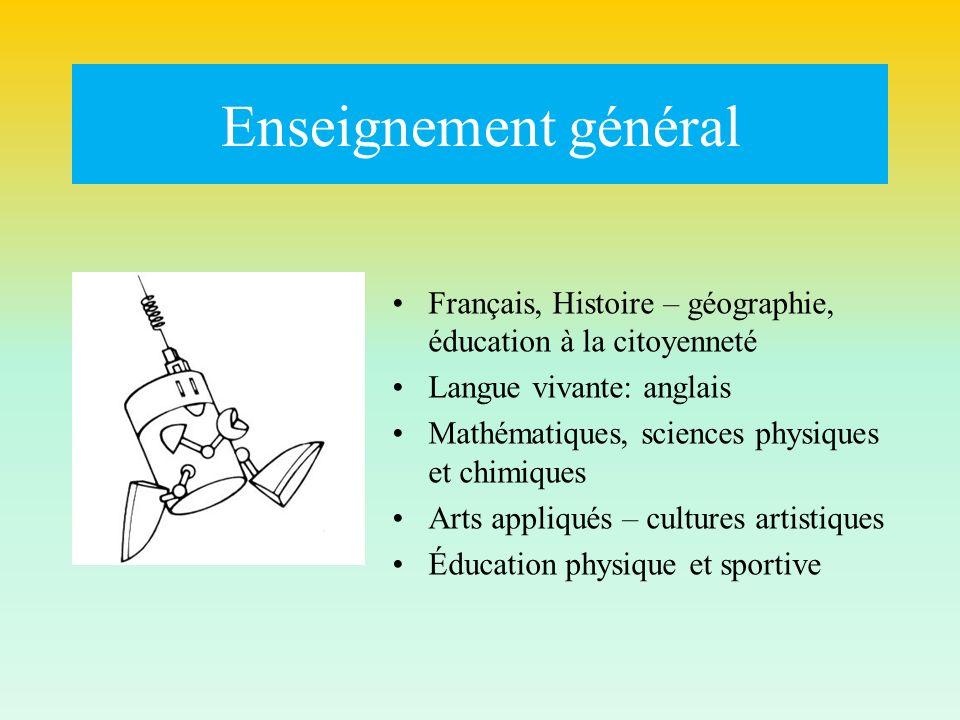 Enseignement général Français, Histoire – géographie, éducation à la citoyenneté. Langue vivante: anglais.
