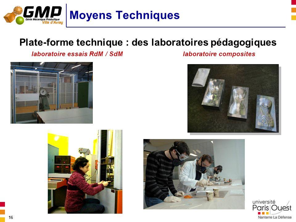 Moyens Techniques Plate-forme technique : des laboratoires pédagogiques. laboratoire essais RdM / SdM.