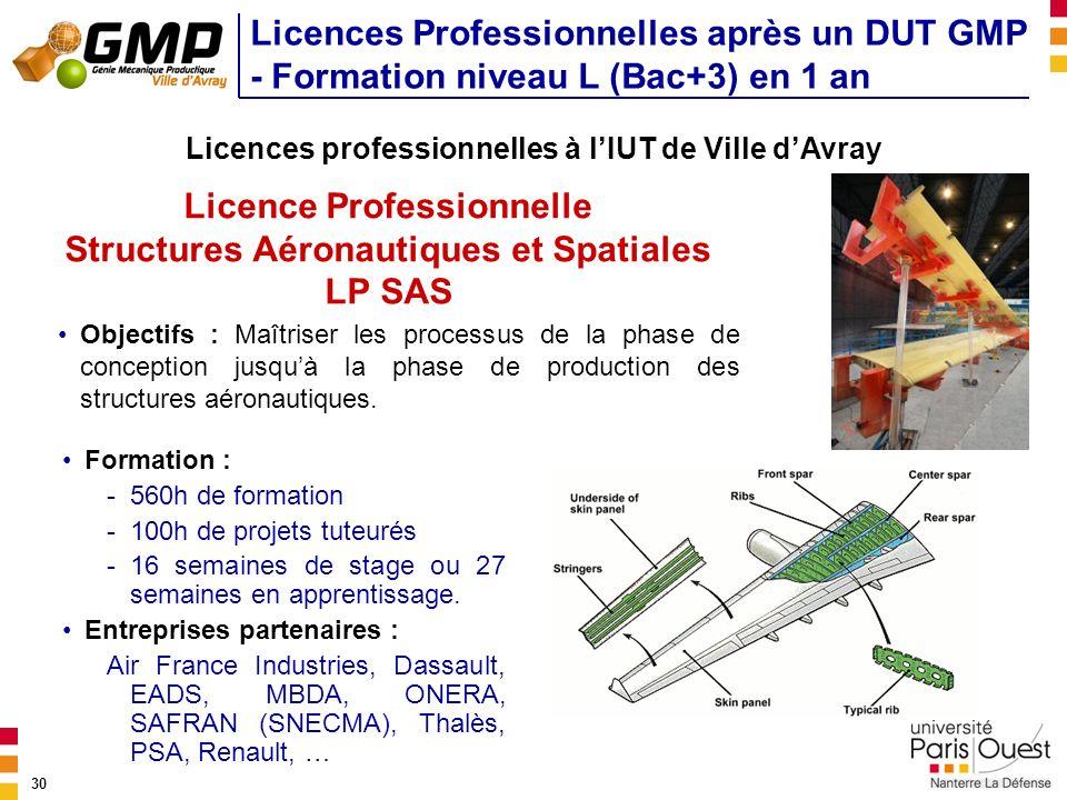 Licence Professionnelle Structures Aéronautiques et Spatiales LP SAS