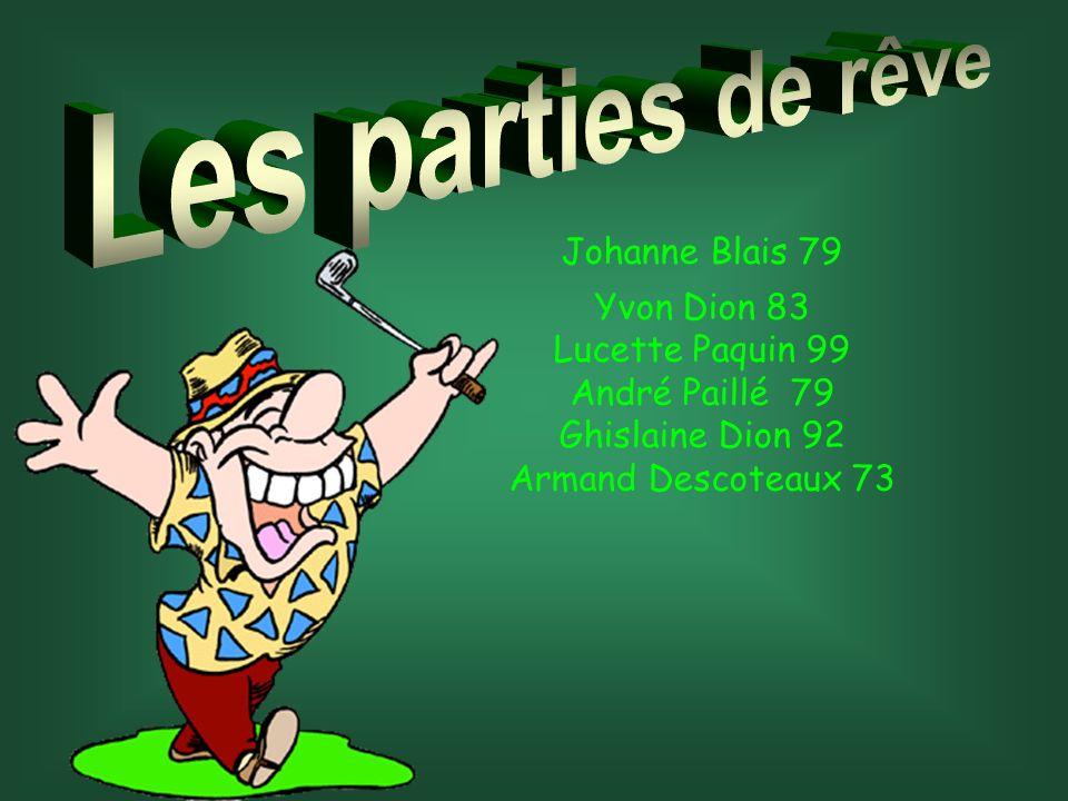 Les parties de rêve Johanne Blais 79 Yvon Dion 83 Lucette Paquin 99