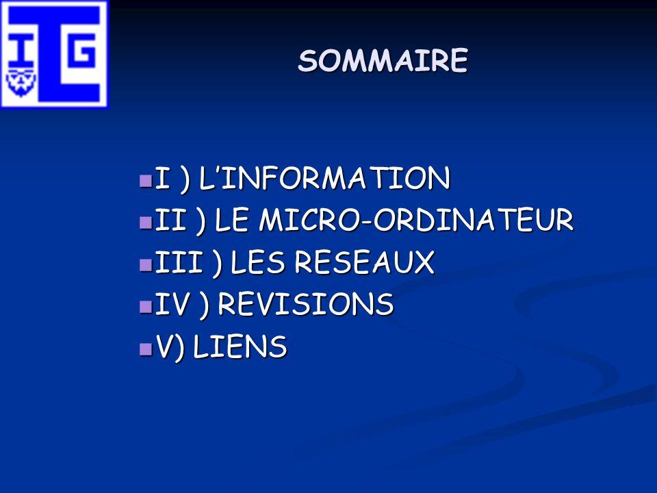 SOMMAIRE I ) L'INFORMATION II ) LE MICRO-ORDINATEUR III ) LES RESEAUX IV ) REVISIONS V) LIENS
