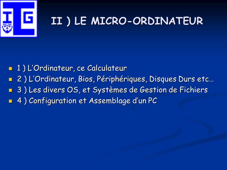 II ) LE MICRO-ORDINATEUR