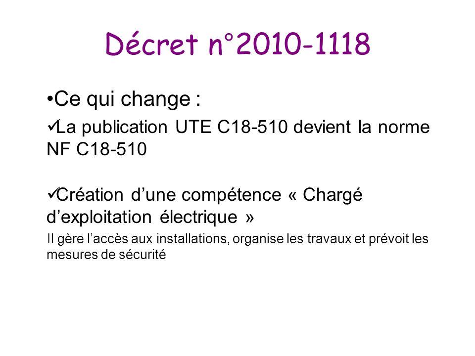 Décret n°2010-1118 Ce qui change :