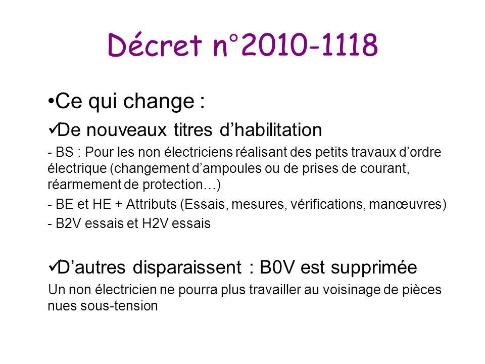 Décret n°2010-1118 Ce qui change : De nouveaux titres d'habilitation