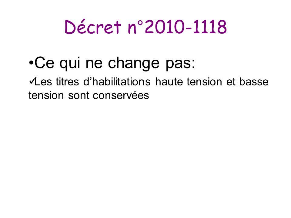 Décret n°2010-1118 Ce qui ne change pas: