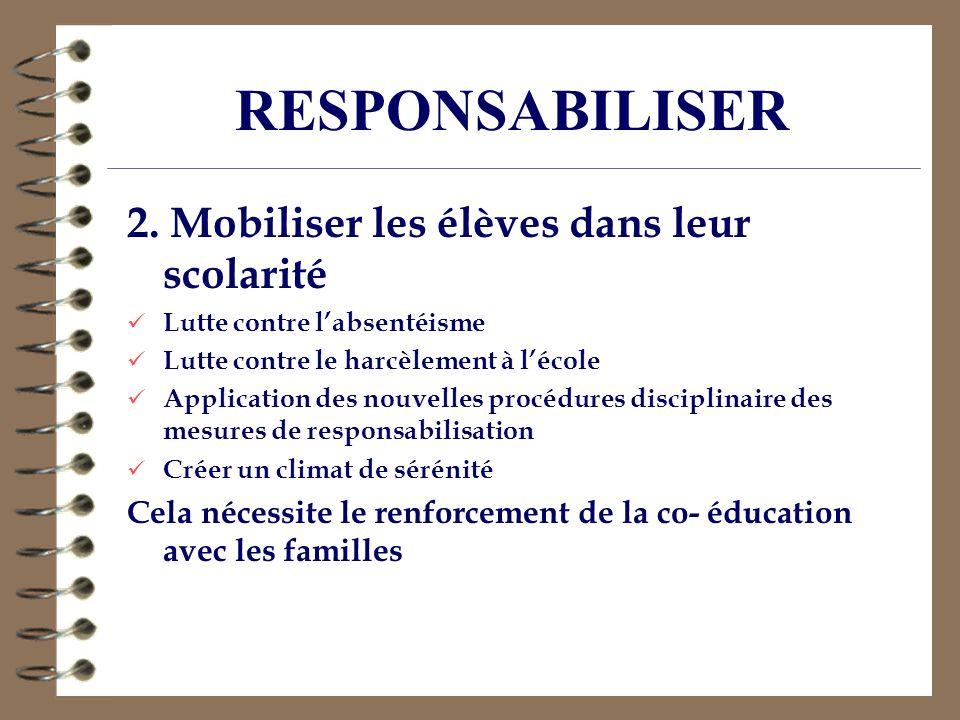 RESPONSABILISER 2. Mobiliser les élèves dans leur scolarité